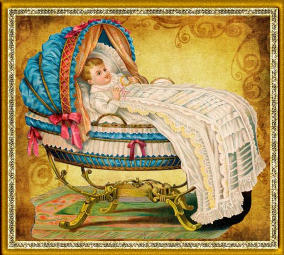 Рисунок с младенцем в старинной колыбели