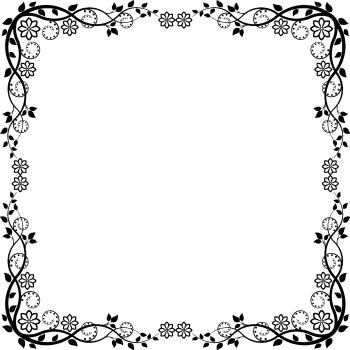 черная рамка из цветов
